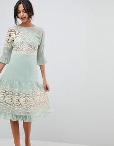 Платье миди со вставкой кроше ASOS DESIGN Premium - Зеленый