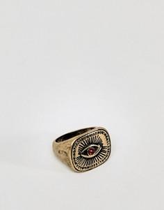 Золотистое кольцо с камнем ASOS DESIGN - Золотой