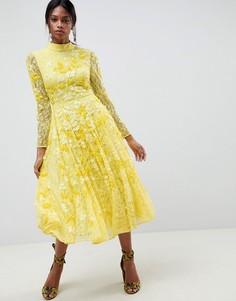 Кружевное платье миди с декоративной отделкой ASOS EDITION - Желтый