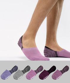 5 пар невидимых носков с фирменной подошвой ASOS DESIGN - Мульти