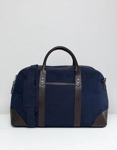 Темно-синяя сумка с коричневой кожаной отделкой ASOS DESIGN - Темно-синий