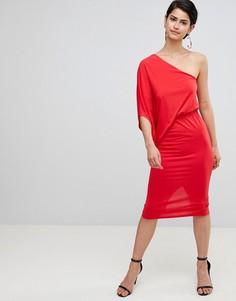 Платье-футляр на одно плечо с драпировкой ASOS DESIGN - Красный