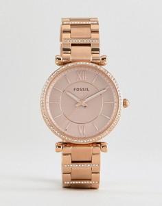 Розово-золотистые часы-браслет 35 мм Fossil ES4301 Carlie - Золотой