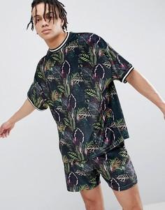 Велюровая oversize-футболка с принтом и контрастной отделкой ASOS DESIGN - Серый