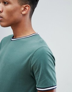Зеленая футболка с контрастной окантовкой Abercrombie & Fitch - Зеленый