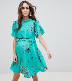 Чайное платье с оборками и цветочным принтом ASOS DESIGN Maternity - Мульти