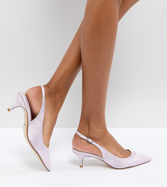 Сиреневые туфли на каблуке-рюмочке с ремешком через пятку эксклюзивно для Dune London Bridal Cassandra - Фиолетовый