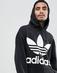 Оверсайз-худи черного цвета adidas Originals adicolor CW1246 - Черный