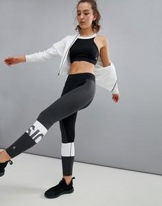 Черно-белые спортивные леггинсы колор блок Asics - Мульти