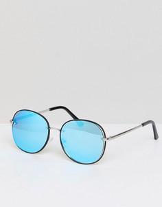 Круглые солнцезащитные очки с голубыми стеклами Jeepers Peepers - Серебряный
