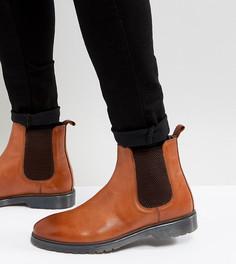 Светло-коричневые кожаные ботинки челси для широкой стопы на ребристой подошве ASOS - Рыжий