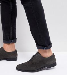 Серые замшевые броги для широкой стопы ASOS - Серый
