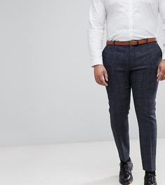 Узкие брюки в клетку из твида Харрис Heart & Dagger PLUS - Темно-синий