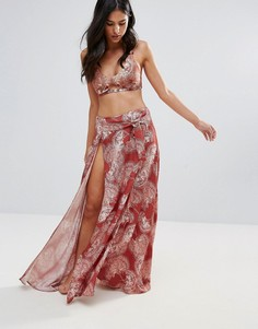 Пляжная юбка макси с разрезом сбоку Somedays Lovin - Оранжевый