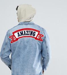 Джинсовая куртка с нашивкой Amazing на спине Just Junkies - Синий