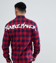 Рубашка в клетку на молнии с надписью Trouble Maker на спине Just Junkies - Красный