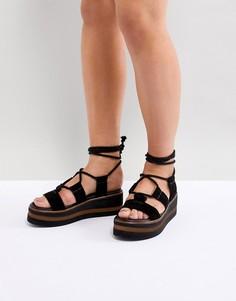 Замшевые туфли на платформе с завязками ASOS DESIGN - Черный