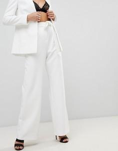 Широкие брюки с завязкой на поясе ASOS DESIGN - Белый