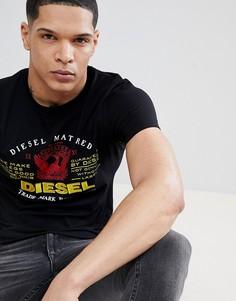 Черная классическая футболка с логотипом Diesel T-LOGYS - Черный