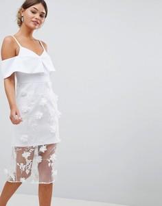 Платье-футляр миди с открытыми плечами и цветочной 3d-отделкой ASOS DESIGN - Белый