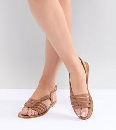 Кожаные сандалии с Т-образным ремешком для широкой стопы ASOS DESIGN - Рыжий