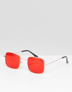 Золотистые квадратные солнцезащитные очки с красными стеклами ASOS DESIGN - Золотой