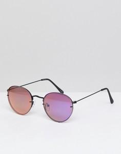 Круглые солнцезащитные очки с фиолетовыми зеркальными стеклами ASOS - Фиолетовый
