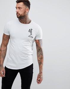 Удлиненная футболка с большим логотипом и закругленным краем Religion - Синий