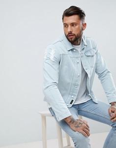 Светлая джинсовая куртка с состаренной отделкой Religion - Синий