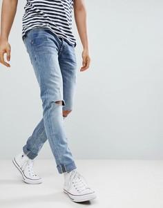 Состаренные зауженные джинсы с рваной отделкой Blend Cirrus - Серый