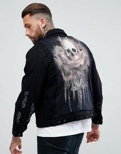 Джинсовая куртка с розой и черепом Religion - Черный