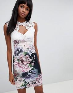 Облегающее платье с цветочной и кружевной отделкой Lipsy - Мульти