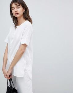 Блузка с отворотами на рукавах Selected - Белый