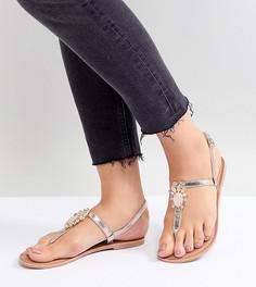 Декорированные сандалии с эффектом металлик New Look Wide Fit - Золотой