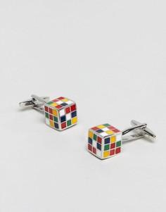 Запонки с кубиками Рубика Moss London - Серебряный