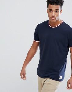 Темно-синяя футболка с контрастной окантовкой Abercrombie & Fitch - Темно-синий