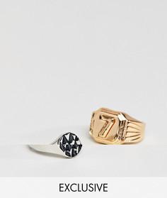 2 кольца Reclaimed Vintage Inspired Lucky 7 эксклюзивно для ASOS - Золотой
