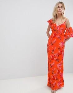 Платье макси с цветочным принтом и оборками на плечах Hope & Ivy - Мульти