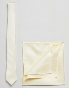 Желтый галстук и платок для пиджака New Look Wedding - Желтый