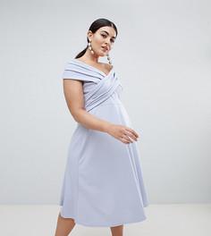 Платье миди с открытыми плечами Boohoo Plus - Синий