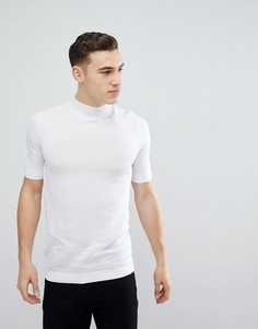 Белая обтягивающая футболка с высоким воротником ASOS - Белый