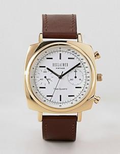 Часы 42 мм с коричневым кожаным ремешком Reclaimed Vintage Inspired эксклюзивно для ASOS - Коричневый