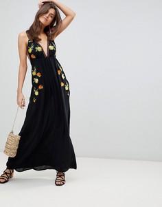 Пляжное платье макси с вышивкой ASOS - Черный