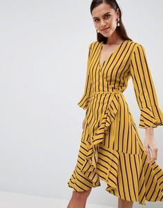 Платье в полоску с запахом и оборками Y.A.S - Мульти