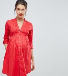 Платье-рубашка с завязывающимся сзади поясом Isabella Oliver - Красный