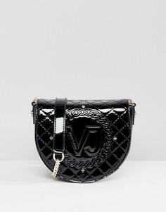 Лакированная сумка-седло Versace Jeans - Черный