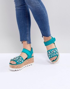Туфли на плоской платформе с отделкой ASOS DESIGN Terrin - Зеленый
