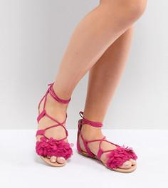 Сандалии для широкой стопы с завязками ASOS DESIGN Faa - Розовый