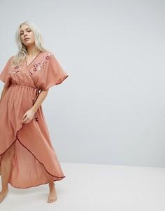 Пляжное платье макси с запахом и вышивкой Minkpink - Бежевый