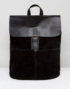 Черный рюкзак из замши и кожи ASOS - Черный